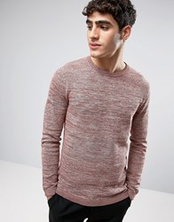 Selected Homme Crew Neck Knitted Jumper In Textured Stripe Apple Butter