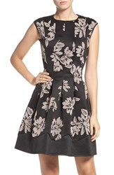 Gabby Skye Women's Floral Scuba Fit And Flare Dress