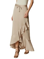 Karen Millen Long Ruffle Skirt Neutral