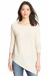 Petite Women's Halogen Asymmetrical Wool And Cashmere Sweater Heather Oatmeal