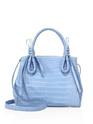 Nancy Gonzalez Medium Double Tie Knot Crocodile Tote Light Blue Matte Grey Matte Blush Matte