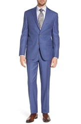 David Donahue Big And Tall Ryan Classic Fit Solid Wool Suit Blue