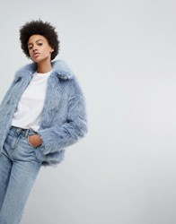 Weekday Faux Fur Jacket Blue