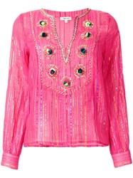 Manoush Lurex Striped Embroidered Blouse Pink And Purple