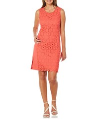 Rafaella Petite Sleeveless Lace Sheath Dress Bright Coral