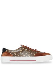 Burberry Suede Detail Monogram Stripe Sneakers Brown