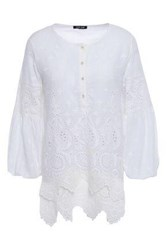 Love Sam Woman Bella Scalloped Broderie Anglaise Cotton Voile Blouse White