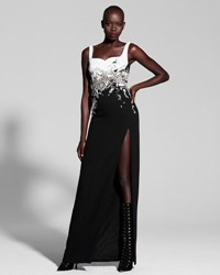 J. Mendel Embellished Two Tone Sweetheart Gown Black White Black White