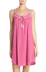 Lucky Brand Women's Embroidered Cotton Chemise Ibis Rose