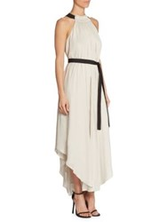 Halston Sleeveless High Ruched Neck Gown Shell Black
