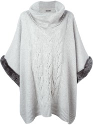 N.Peal Rabbit Fur Trim Poncho Grey