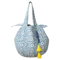 East Quilted Tote Bag Blue