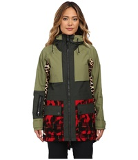 Burton Lamb Riff Parka Army Green Photo Cheetah Weeds Plaid Ikat Women's Coat