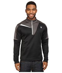 Spyder Charger Therma Stretch T Neck Top Black Polar Cirrus Men's Long Sleeve Pullover