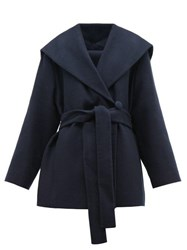 The Row Reyna Double Breasted Cotton Blend Wrap Coat Navy