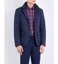 Canali Sheepskin Lined Quilted Jacket Navy