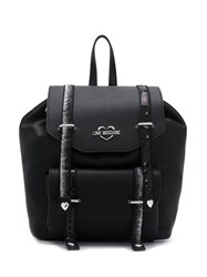 Love Moschino Foldover Logo Backpack Black