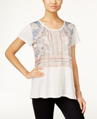 Styleandco. Style Co. Petite Boho Print T Shirt Only At Macy's White Heat