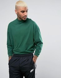 Asos Oversized T Shirt With High Neck And Cropped Arm In Green Green