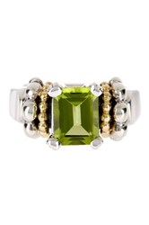 Lagos Sterling Silver And 18K Yellow Gold Peridot Ring Size 7 Green