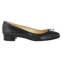 Hobbs Rosie Block Heeled Ballerina Pumps Black Leather
