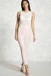 Forever 21 Iridescent Sequin Pants White Pink