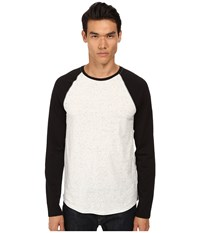 Vince Long Sleeve Color Block Raglan Baseball Heather White Black Men's Sweater Gray