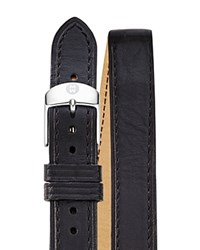 Michele Leather Double Wrap Watch Strap 18Mm Black