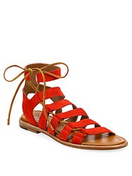 Frye Blair Side Lace Up Suede Sandals Red