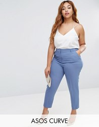 Asos Curve Ankle Grazer Cigarette Trouser In Crepe Grey Blue