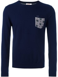 Sun 68 Crew Neck Printed Pocket Jumper Blue
