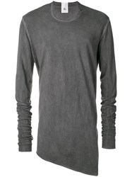 Lost And Found Rooms Asymmetric Hem Longsleeved T Shirt Grey