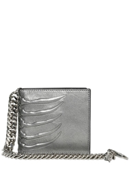 Alexander Mcqueen Chained Metallic Leather Wallet Silver