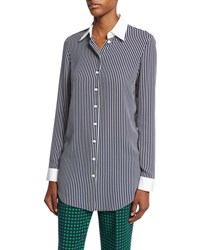 Michael Kors Striped Silk Georgette Blouse Navy
