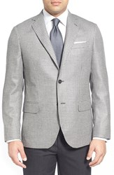 Men's Big And Tall John W. Nordstrom Classic Fit Houndstooth Cashmere Sport Coat Black Grey