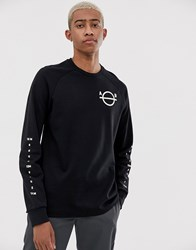 Scotch And Soda Long Sleeve T Shirt With Sleeve Print Black