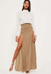 Missguided Nude Satin Button Detail Maxi Skirt Champagne