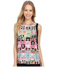 Pink Lotus Hawaii Tribe Refreshed Contrast Muscle Tank Top Passion Fruit Women's Sleeveless Pink