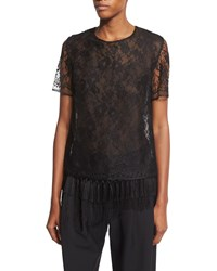 Adam By Adam Lippes Short Sleeve Lace T Shirt W Fringe Hem Black Women's