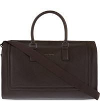 Ted Baker Raised Edge Leather Holdall Chocolate