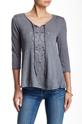 Monoreno Self Tie Key Hole Embroidered Knit Blouse Blue