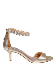 Badgley Mischka Geranium Satin Open Toe Sandals Gold