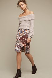 Maeve Vannia Printed Pencil Skirt Blue