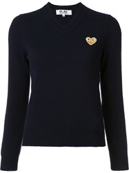 Comme Des Garcons Play Heart V Neck Jumper Blue