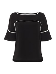 Episode Bell Sleeve Piped Blouse Black