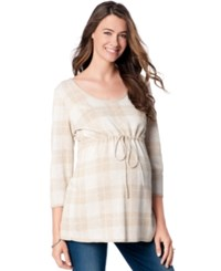 Motherhood Maternity Plaid Babydoll Sweater Oatmeal Plaid