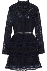 Self Portrait Ava Guipure Lace Mini Dress Midnight Blue