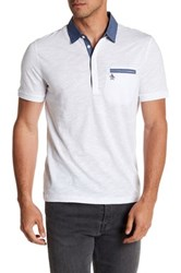 Original Penguin Short Sleeve Solid Chambray Polo White