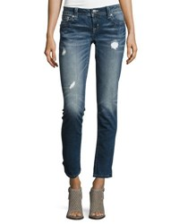 Miss Me Skinny Embroidered Denim Jeans Blue