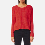 Samsoe And Samsoe Women's Nor On Short Ribbed Jumper High Red Melange